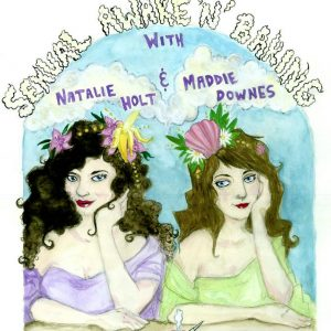 Sexual Awake'n'Baking podcast logo. Natalie Holt and Maddie Downes in art nouveau style watercolors.